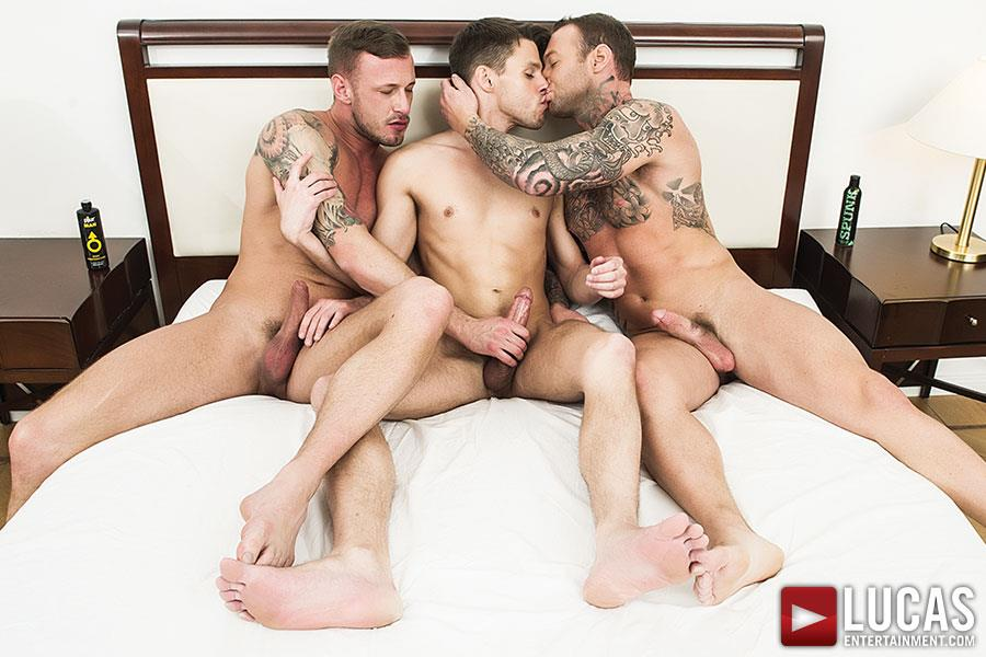 Lucas-Entertainment-Dylan-James-and-Logan-Rogue-and-Dmitry-Osten-Bareback-Threeway-Amateur-Gay-Porn-03 Dmitry Osten Takes A Raw Load In The Mouth And Ass