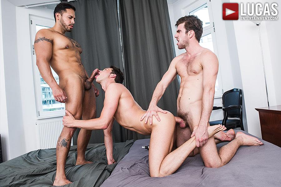 Lucas-Entertainment-Zander-Craze-and-Damon-Heart-and-Viktor-Rom-Big-Uncut-Cock-Bareback-Threesome-Amateur-Gay-Porn-08 Two Big Uncut Cock Tops Sharing A Bottoms Hungry Hole