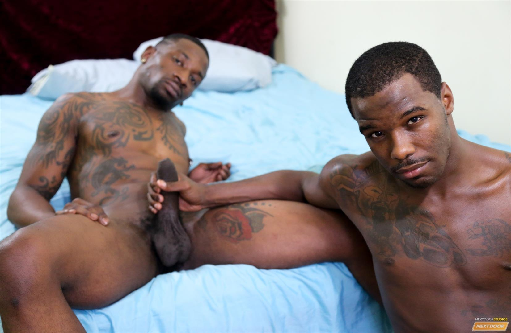 Next-Door-Ebony-Muscular-Black-Guys-Fucking-Free-Gay-Sex-Video-09 A Hard Morning Fuck With Two Hung Black Lovers