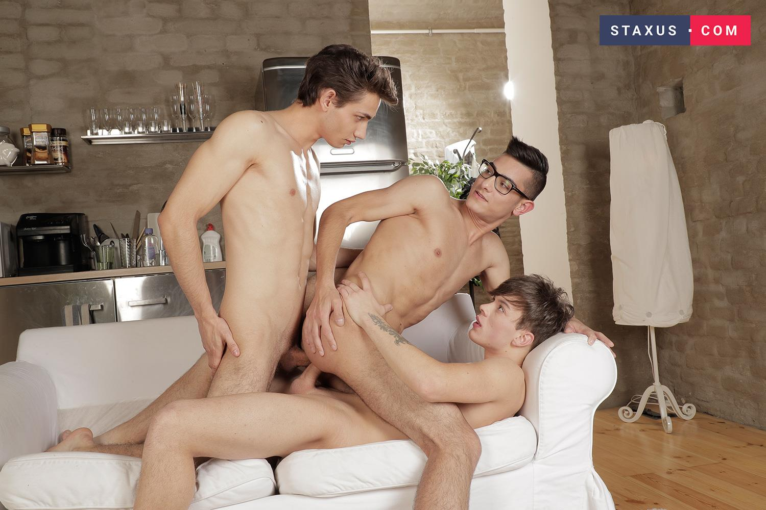Staxus-Max-Grey-and-Orri-Gaul-and-Lior-Hod-Bareback-Twink-Sex-13 Nerdy Twink Takes Two Bareback Dicks Up The Butt